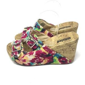 Unlisted Floral Cork Wedge Sandals